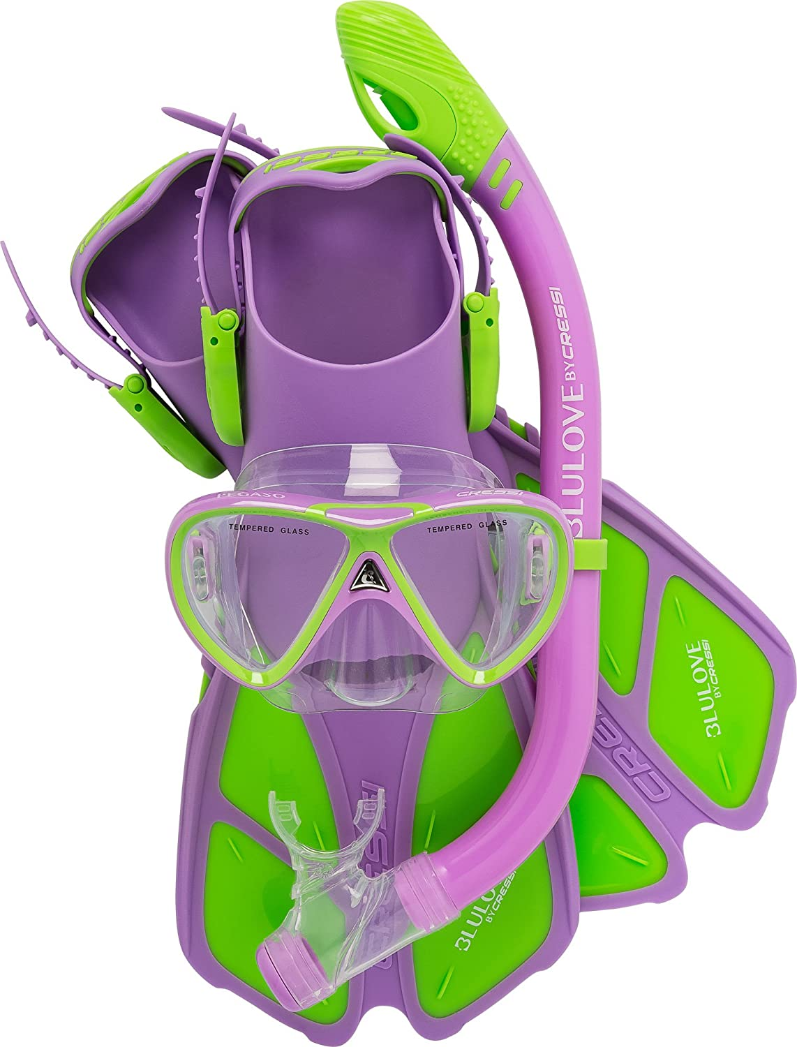 Cressi Youth Junior Snorkeling Set for kids Aged 7 to 15  Lightweight colorful Equipment   Mini Bonete Set