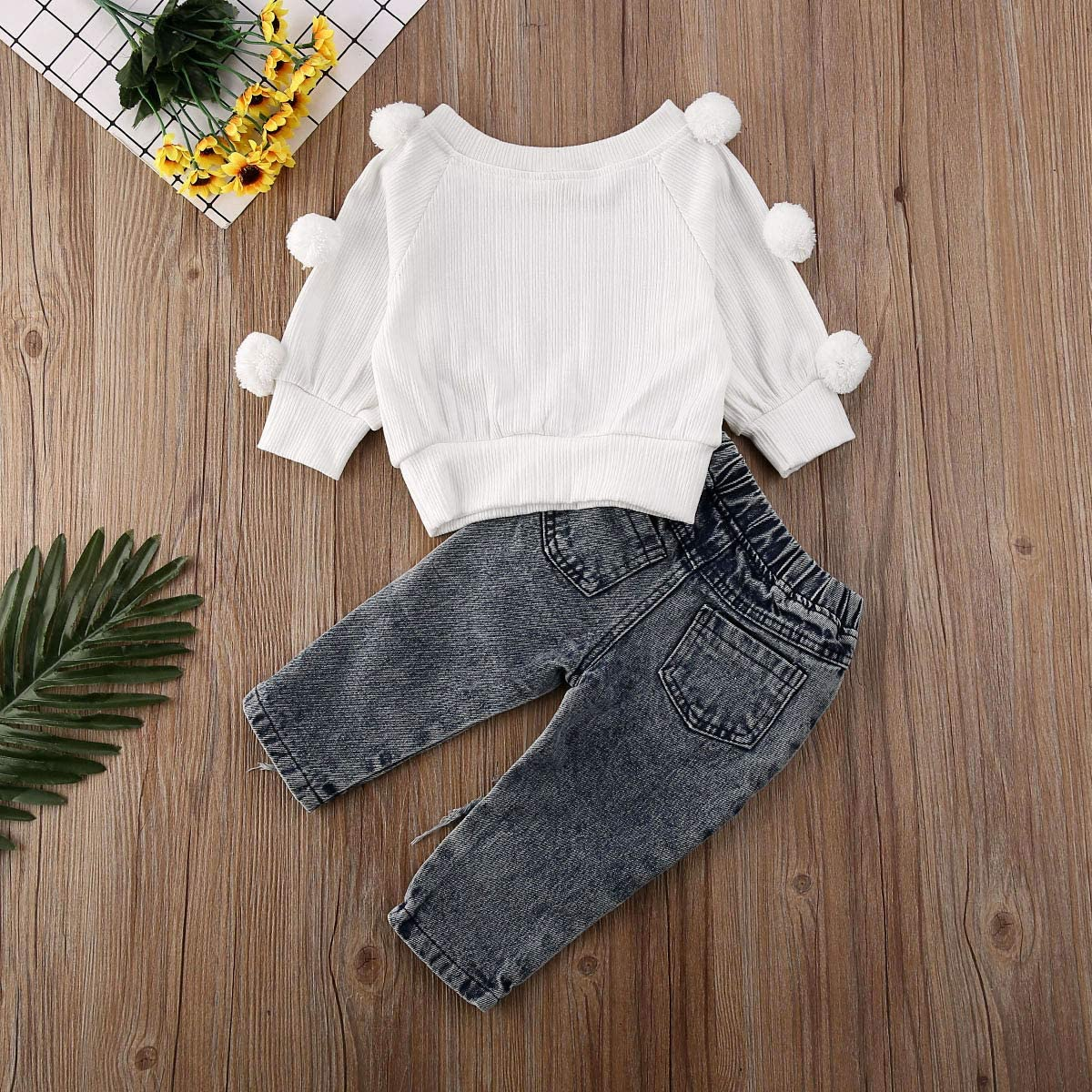 primavera 5 a/ños para 1 pantalones vaqueros con tirantes casual Conjunto de 2 piezas de camiseta de manga larga con pomp/ón oto/ño