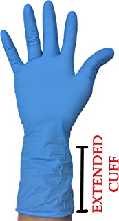 Nitrile Exam Gloves - Medical Grade, Powder Latex Rubber Free, Disposable, Non-Sterile, Food Safe, Textured, Blue Color, Convenient Dispenser Sensitive Skin – Robust Plus (EXTENDED CUFF) SIZE (MEDIUM)