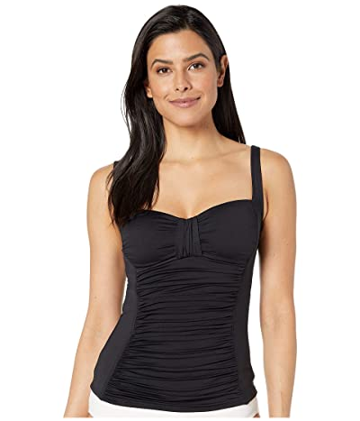 La Blanca Island Goddess Over the Shoulder Tankini (Black) Women