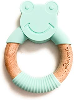 hellobabyLA Animal Wood and Silicone Teether | Baby Natural Teething Relief | Organic & Eco Friendly 100% BPA Free | Bunny Fox Bear Elephant Cat Frog | Includes Gift Bag (Mint Frog)
