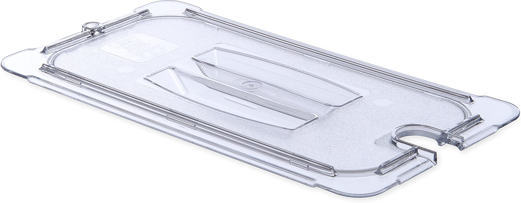 Carlisle 10271U07 StorPlus Third Size Polycarbonate Universal Handled Notched Food Pan Lid Clear