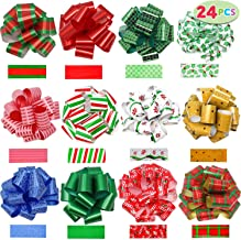 """JOYIN 24 Pieces Christmas Gift Wrap Ribbon Pull Bows (5"""" Wide); Easy and Fast Gift Wrapping Accessory for Christmas Gifts, Bows, Baskets, Wine Bottles Decoration, Gift Wrapping and Decoration Present."""