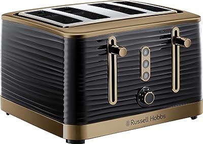 Russell Hobbs Inspire Brass 4 Slice Toaster, Black, RHT114BBR