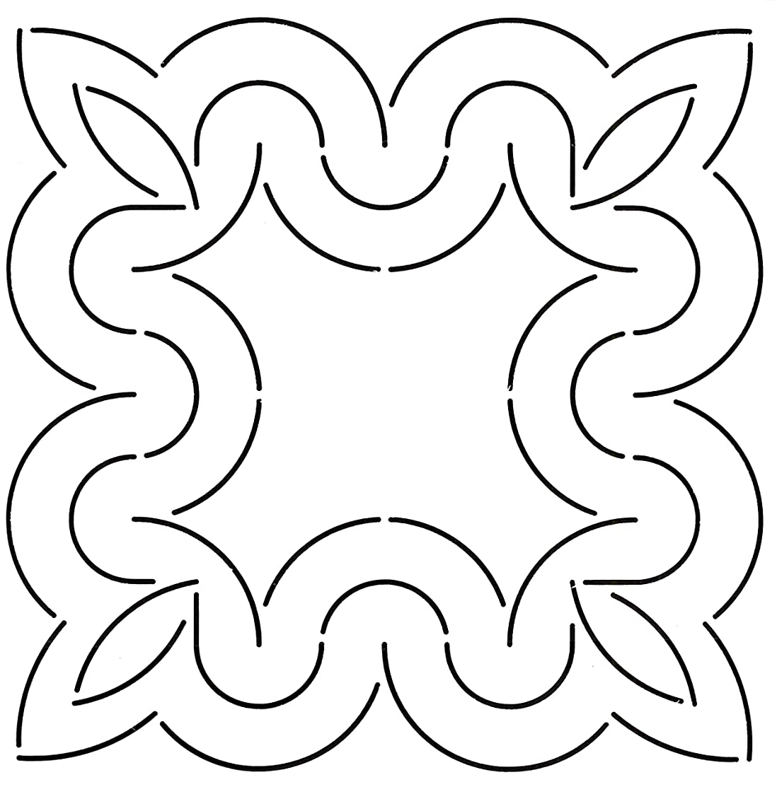 Golden Threads Curves Block Quilt Stencil, 9