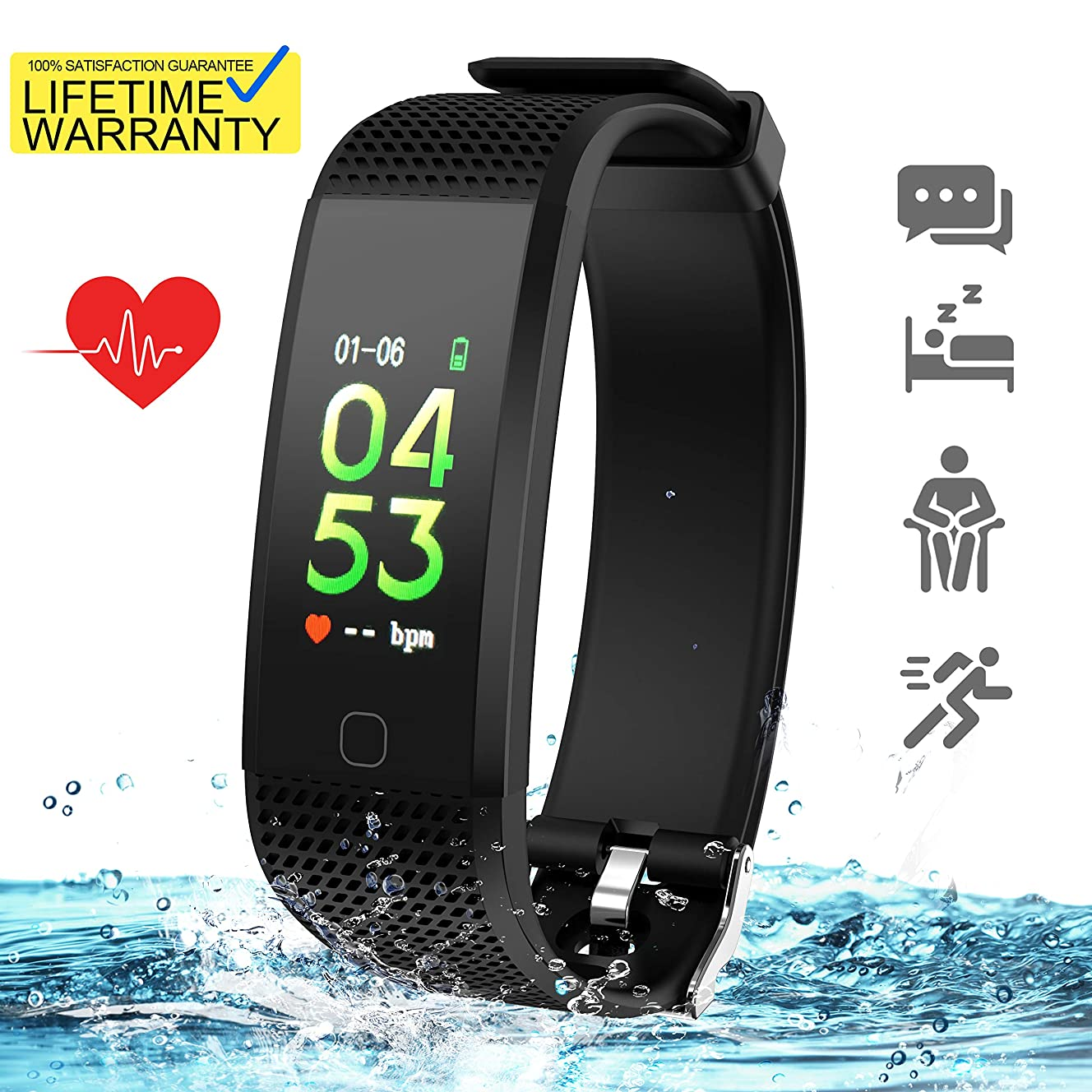 Updated 2019 Version Fitness Tracker HR, Activity Trackers Health Exercise Watch with Heart Rate and Sleep Monitor, Smart Band Calorie Counter, Step Counter, Pedometer Walking for Men Women and Kids