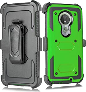 for Moto G7 Power Case, 6goodeals Heavy Duty Hard Shock Protector Full Protective Shield Case Cover with Belt Clip and Kic...