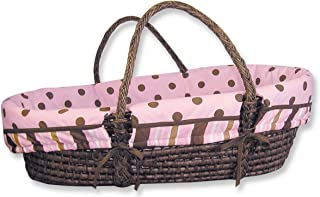 Trend Lab Maya Moses Basket Set - Sage Basket with Maya Pink, Brown Polka Dot Wrap Style Bumper and Pink Mattress Cover Sh...