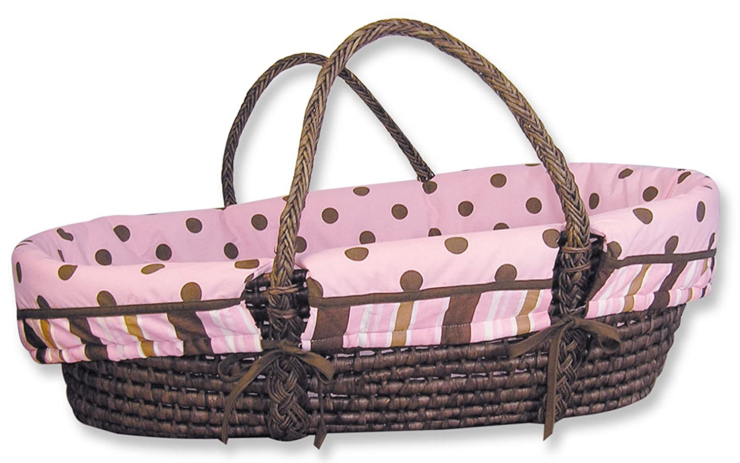 Trend Lab Maya Inventory cleanup selling sale Moses Basket Set - Pink Max 84% OFF Br Sage with