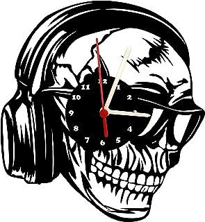 Wanduhr, Totenkopf mit Kopfhörer, Design Schallplattenuhr m