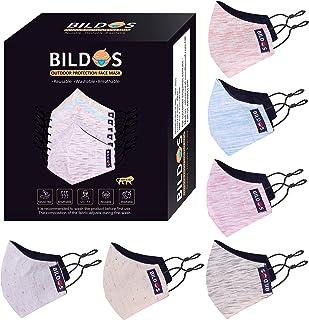 Bildos Khadi Cotton Reusable Cloth Face Mask With Adjustable Ear Loop (Multi colour, Pack of 6) for Men & Women