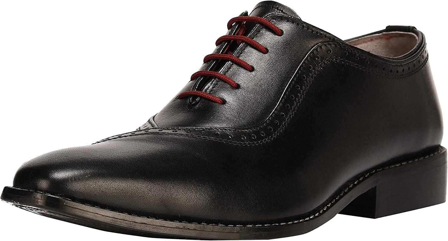 Liberty Men's Genuine Handmade Finest Leather with Burnished Toe - Lace up Oxford Dress shoes Black Size  9 M US