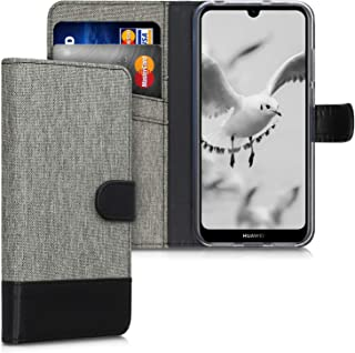 kwmobile Wallet Case Compatible with Huawei Y6s (2019) - Fabric Faux Leather Cover with Card Slots, Stand - Grey/Black