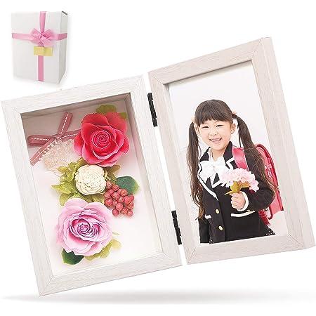 【 リリスエピス 】 liLYS épice プリザーブドフラワー フォトフレーム 写真立て 母の日 ギフト プレゼント日本製 ( ホワイトフレーム ピーチピンク )pp2pk