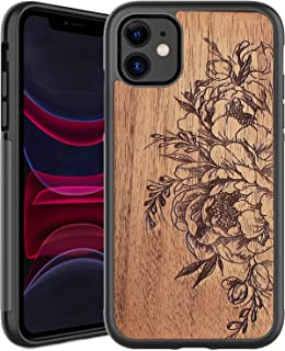 ICEDIO iPhone 11 Case,Real Wood Grain with Flower Floral Garden Designs,Military Grade Shockproof with Soft Silicone Inner...