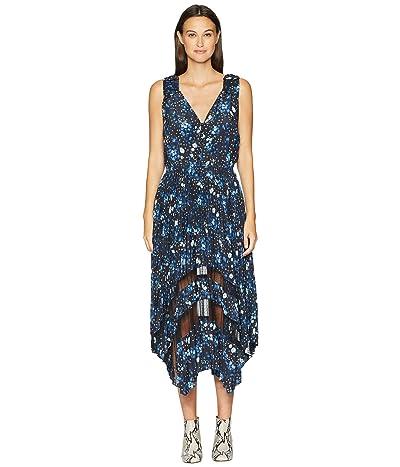 The Kooples Sleeveless Dot Print Maxi Dress (Navy) Women