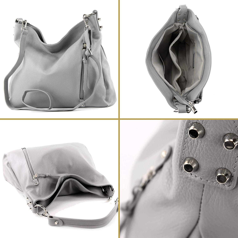 modamoda de - T183 - Sac à bandoulière en cuir pour dames Beige