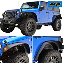 EAG JK Front + Rear Fender Flares with LED Turn Signal Lights Offroad Fit for 2007-2018 Jeep Wrangler