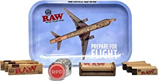 RAW Rolling Tray Small (Flight), Natural 1 1/4 Rolling Papers (3 Packs), 79mm Cigarette Roller, Tips (3 Packs), and Rolling Paper Depot 42mm 4 Piece Grinder - 9 Items - Bundle
