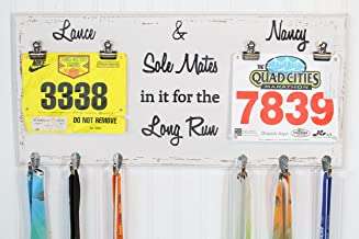 His and Hers Running Medal Holder With Sole Mates in it for the Long Run - Carved Sign - Running Medal Holder- Bib Holder