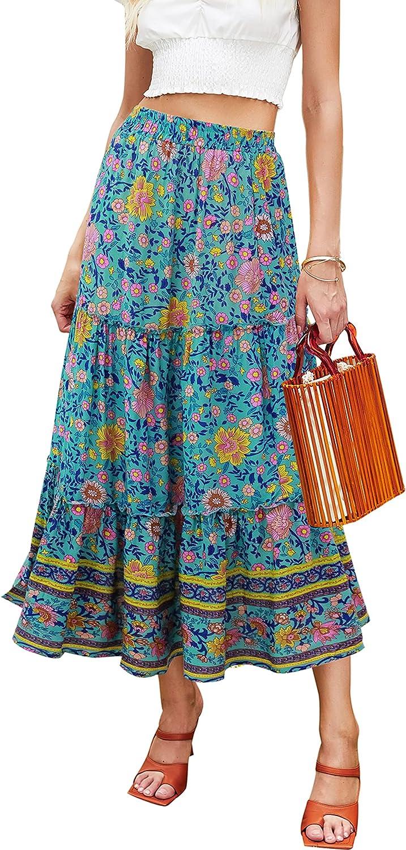 Hibluco Women's Floral Midi Skirts Elastic High Waist A-Line Swing Skirts