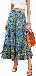 Women's Floral Midi Skirts Elastic High Waist A-Line...