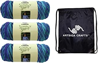 Caron Knitting Yarn Simply Soft Paints 3-Skein Factory Pack (Same Dyelot) Bundle with 1 Artsiga Crafts Project Bag 3-Pack ...