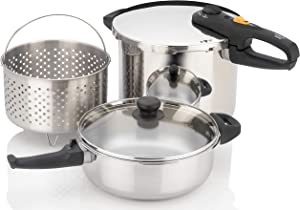 Zavor DUO Combi 4.2 & 8.4 Quart Multi-Setting Pressure Cooker and Canner Set with Accessories - Polished Stainless Steel (ZCWDU05)