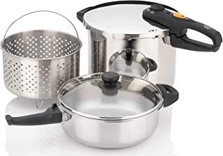Zavor DUO Combi 4.2 & 8.4 Quart Multi-Setting Pressure Cooker Set with Steamer Basket and Recipe Book - Polished Stainless...