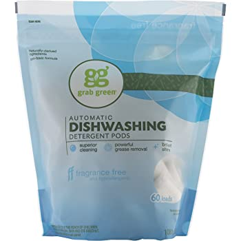 Grab Green Natural Dishwasher Detergent Pods, Free & Clear/Unscented, 60 Count, Fragrance Free, Organic Enzyme-Powered, Plant & Mineral-Based