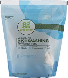 Grab Green Natural Dishwasher Detergent Pods, Free & Clear/Unscented, 60 Count, Fragrance Free, Organic Enzyme-Powered, Pl...