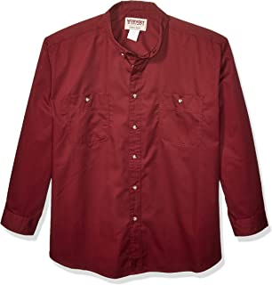 Wrangler Men's Big-Tall Rugged Wear Wrinkle Resist Solid Shirt, Burgundy, 4X