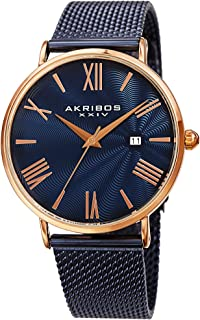 Akribos XXIV Men's Classic Watch - Guilloche Textured Dial with Date Window on Stainless Steel Mesh Band - AK1110