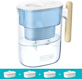 Waterdrop Chubby 10-Cup Water Filter Pitcher with 4 Filters, Long-Lasting (200 gallons), NSF Certified, 5X Times Lifetime ...