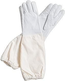 Forest Beekeeping Supply - Goatskin Leather Beekeeper's Glove with Long Canvas Sleeve & Elastic Cuff(Medium)