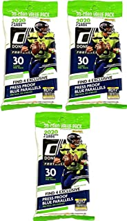 3 PACKS: 2020 Panini Donruss NFL Football CELLO pack (30 cards/pk)