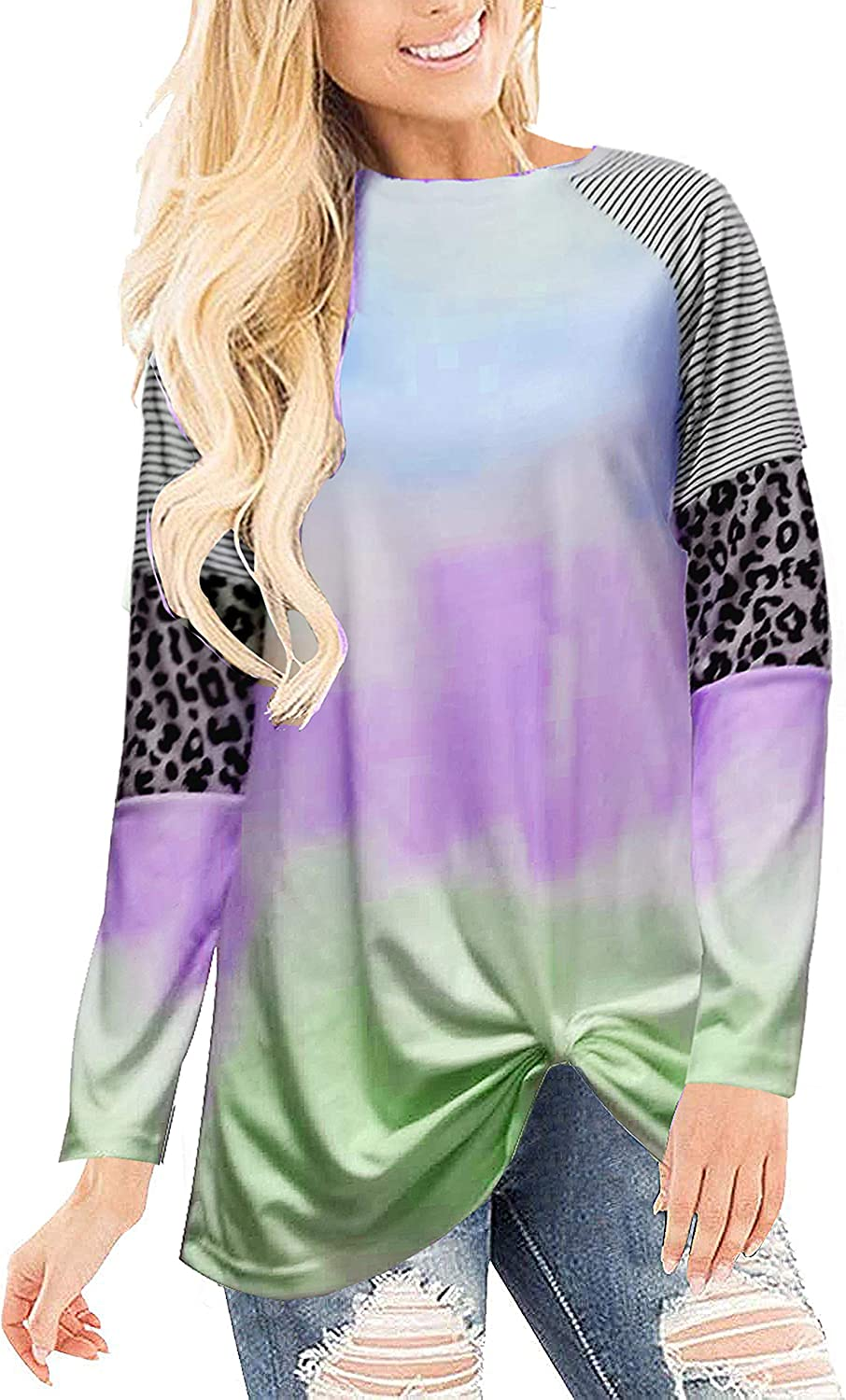 Women's Tie Dye Round Neck Long Sleeve Casual Tops Loose Tunic Shirt Front Twist Knot T Shirt