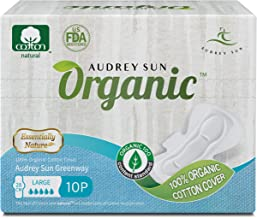 Audrey Sun Organic Pads and Organic Panty Liners for Women - Certified Organic Natural Cotton Pads - Large - 20 Count (Packaging May Vary) - Made in Korea LG20