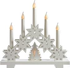 WeRChristmas Pre-Lit Candle Bridge Arch Table Decoration, Wood, 32 cm - White
