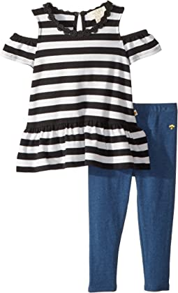 Stripe Cold Shoulder Leggings Set (Toddler/Little Kids)