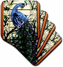 3dRose cst_25288_1 Peacock Proud-Soft Coasters, Set of 4