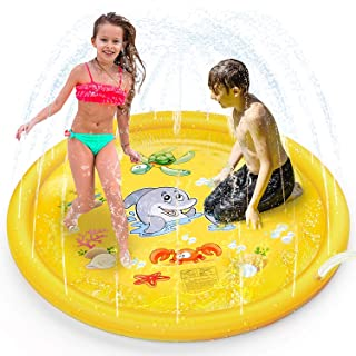 "Bestmaple Plash Pad Kids Toys, 68"" Sprinkle and Splash Play Mat Pad Toy for Children (Dolphin Yellow)"