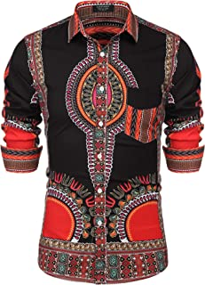 Mens African Print Shirt Bright Dashiki Long Sleeve Button Down Shirt