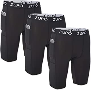 3 Pack: Men's Active Performance Athletic Quick-Dry Fit Stretch Compression Baselayer Workout Running Training Gym Shorts