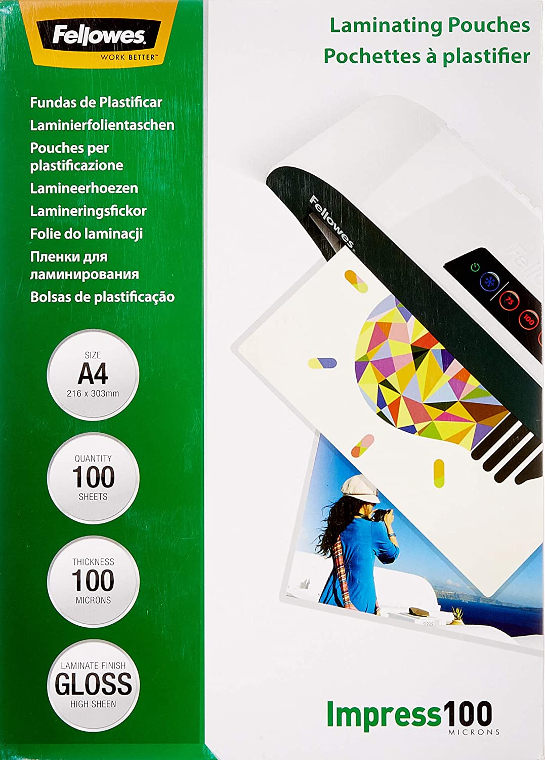 Fellowes A4 Laminating Pouches Gloss Pack Micron of Today's Superlatite only 100