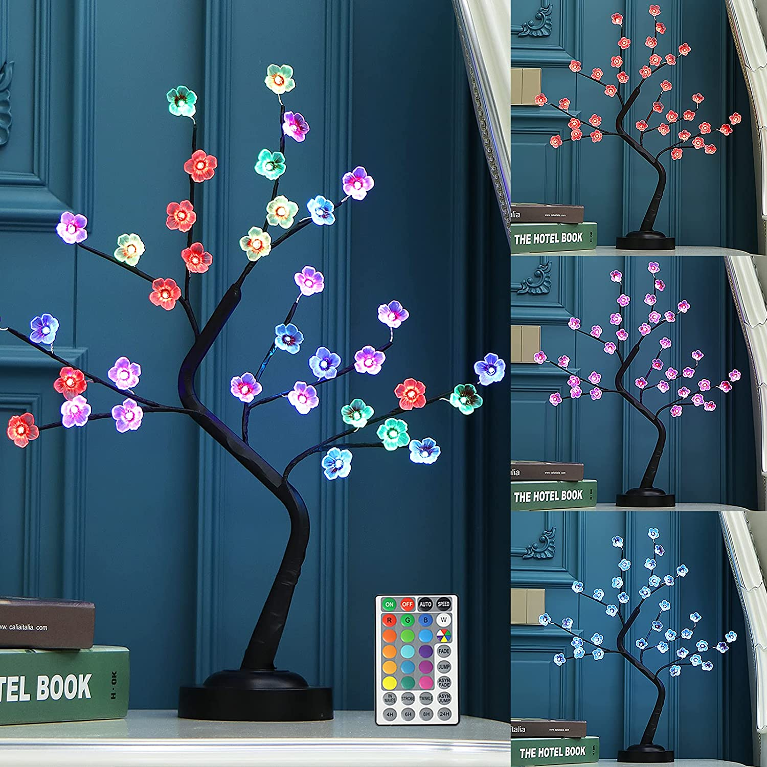 """Fanshunlite 20""""Cherry Blossom Tree Lamp Chan Free shipping on posting reviews with Colors 16 Courier shipping free"""
