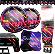 102 Piece Glow In The Dark Theme Party Supplies Set Including Banner, Plates, Cups, Napkins, and Tablecloth, Serves 25