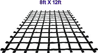 FONG 12 ft X8 ft Climbing Cargo Net Black - Swing Set Accessories - Indoor Climbing net - Outdoor Playground Swing, Belt Swing, Playground Hanging Step Ladder (12)
