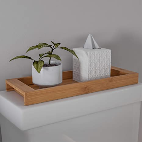 Amazon Com Lavish Home Bamboo Bathroom Vanity Tray Natural Wood Eco Friendly Holder For Towels Toiletries Cosmetics Decor And More Modern Bath Accessories Home Kitchen