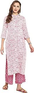 Janasya Women's Cotton Floral Print Straight Kurta With Palazzo